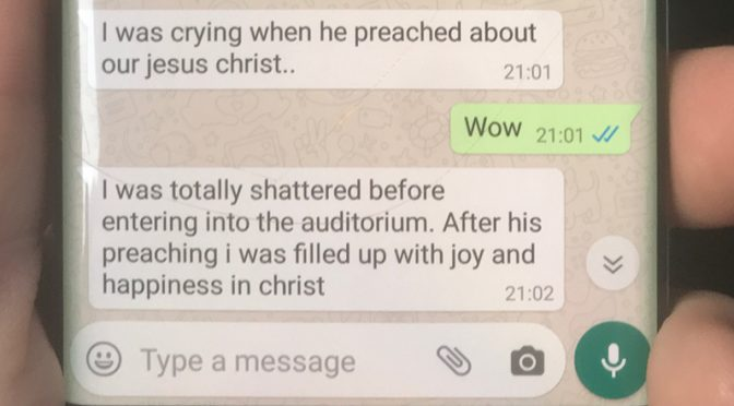 At the University: I was crying when he preached about our Jesus Christ
